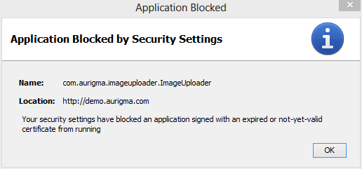 Application Blocked by Security Settings - expired certificate