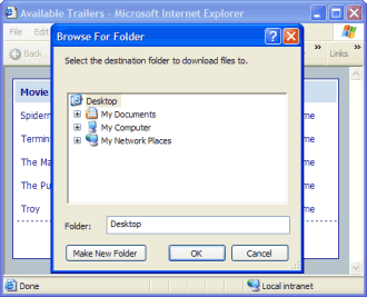 Figure 3. As soon as the file list is verified, the user selects the folder to download files to.