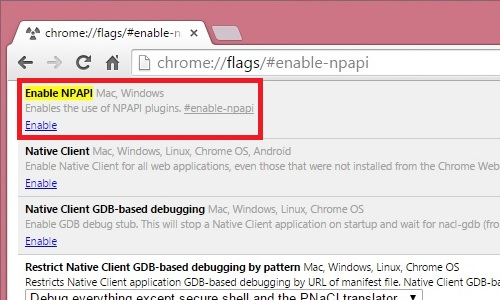 Click Enable NPAPI to get Java plugin back.