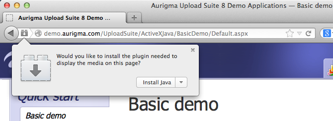 install and enable the Java plug-in