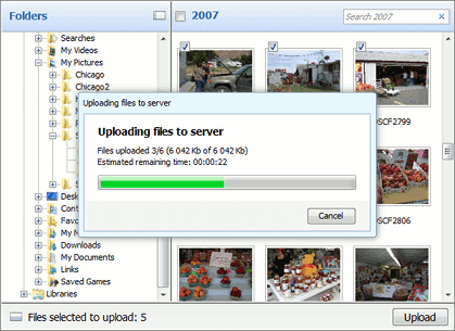 Image Uploader 7 progress dialog.
