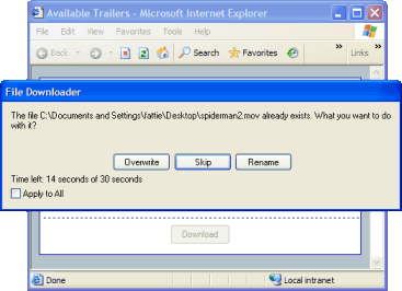 Figure 5. If a newly downloaded file match's an existing file name in the target folder, the user may choose how to handle this situation - overwrite, skip, or rename it. You may configure a timer which automatically carries out a predefined action if File Downloader waits too long.