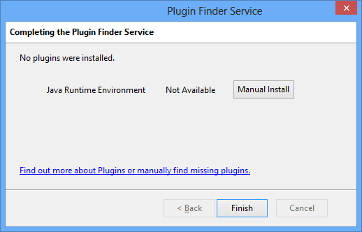 If Plugin Finder Service couldn't install a plugin, you should click the Manual Install button