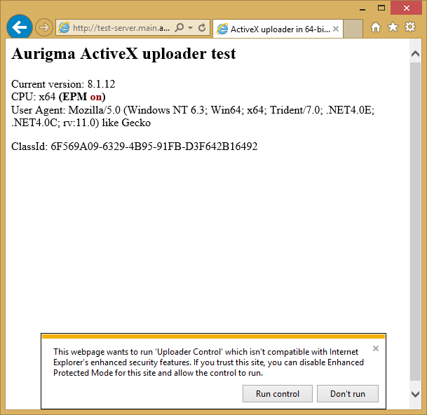 This webpage wants to run ActiveX which isn't compatible with Internet Explorer's enhanced security features. If you trust this site, you can diable Enhanced Protection Mode for this site and allow the control to run. Windows 8.1 (IE11).